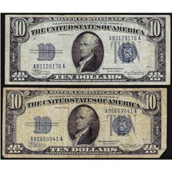 Lot of (2) 1934A $10 Silver Certificate Notes