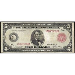 1914 $5 Federal Reserve Note Red Seal
