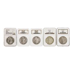 Lot of (5) Assorted New Orleans Mint $1 Morgan Silver Dollar Coins NGC MS64