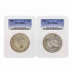 Lot of 1923 & 1925 $1 Peace Silver Dollar Coins PCGS MS63