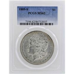 1889-S $1 Morgan Silver Dollar Coin PCGS MS62