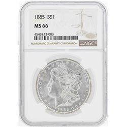 1885 $1 Morgan Silver Dollar Coin NGC MS66