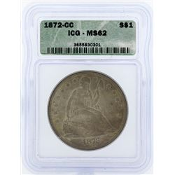 1872-CC $1 Seated Liberty Dollar Coin ICG MS62