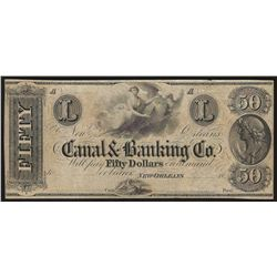 1800's $50 Canal & Banking Co. Obsolete Bank Note
