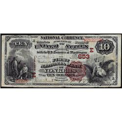1882 $10 Brown Back Yonkers New York National Currency Note