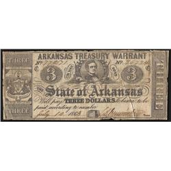 1863 $3 State of Arkansas Treasury Warrant Note
