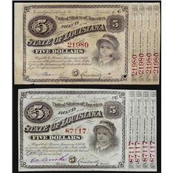Lot of (2) 1874 State of Louisiana Baby Bond Obsolete Notes
