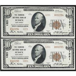 Lot of (2) Consecutive 1929 $10 The Farmers National Bank of Sussex NJ Notes