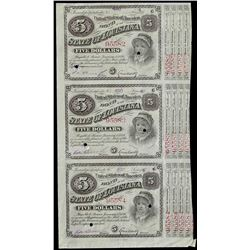 Uncut Sheet of (3) 1876 State of Louisiana Baby Bond Obsolete Notes