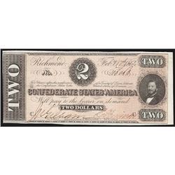 1864 $2 Confederate States of America Note