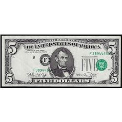 1974 $5 Federal Reserve Note Offset Printing ERROR