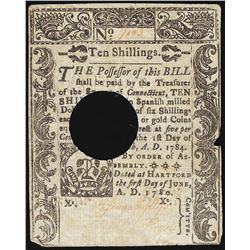 June 5, 1780 Connecticut Ten Shillings Colonial Currency Note