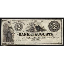 1800's $2 The Bank of Augusta Obsolete Bank Note