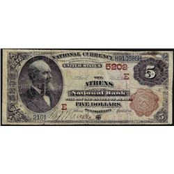 1882 $5 Brown Back Athens Pennsylvania National Currency Note