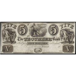1800s $5 The Tecumseh Bank Obsolete Bank Note