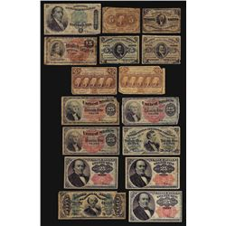 Lot of (16) Assorted Fractional Currency Notes
