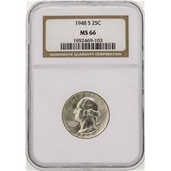 1948-S Washington Silver Quarter Coin NGC MS66