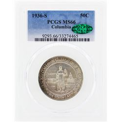 1936-S Columbia Commemorative Half Dollar Coin PCGS MS66 CAC