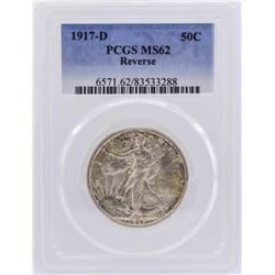 1917-D Walking Liberty Half Dollar Coin PCGS MS62 Reverse