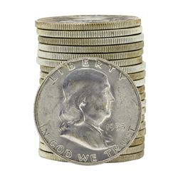 Roll of (20) 1953-S Brilliant Uncirculated Franklin Half Dollars
