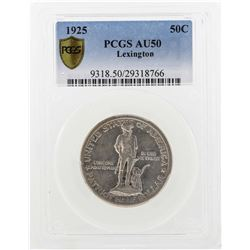 1925 Lexington-Concord Sesquicentennial Commemorative Half Dollar Coin PCGS AU50