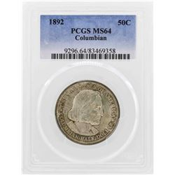 1892 Columbian Centennial Commemorative Half Dollar Coin PCGS MS64