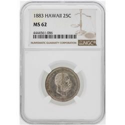 1883 Kingdom of Hawaii Quarter Coin NGC MS62