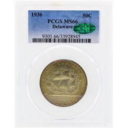 1936 Delaware Commemorative Half Dollar Coin PCGS MS66 CAC