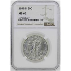 1939-D Walking Liberty Half Dollar Coin NGC MS65