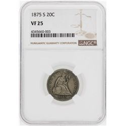 1875-S Twenty Cent Piece Coin NGC VF25
