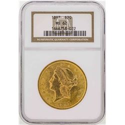 1897 $20 Liberty Head Double Eagle Gold Coin NGC MS62