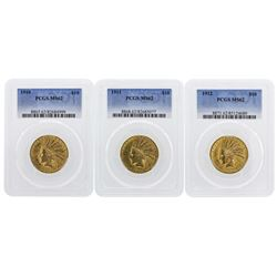 Set of 1910-1912 $10 Indian Head Eagle Gold Coins PCGS MS62