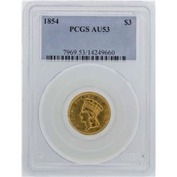 1854 $3 Indian Princess Head Gold Coin PCGS AU53