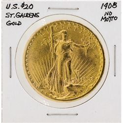 1908 $20 Saint Gaudens No Motto Double Eagle Gold Coin