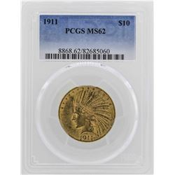 1911 $10 Indian Head Eagle Gold Coin PCGS MS62