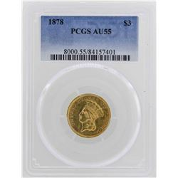 1878 $3 Indian Princess Head Gold Coin PCGS AU55