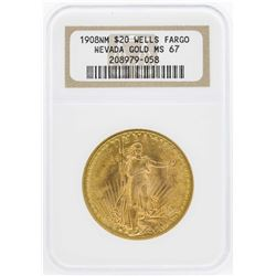 1908 $20 No Motto St. Gaudens Double Eagle Gold Coin Wells Fargo Nevada NGC MS67