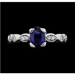 14KT White Gold 0.75ct Blue Sapphire and Diamond Ring