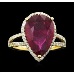 14KT Yellow Gold 6.14ct Ruby and Diamond Ring