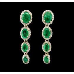 14KT Yellow Gold 5.08ctw Emerald and Diamond Earrings