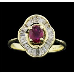 14KT Yellow Gold Ladies 0.30ct Ruby and Diamond Ring