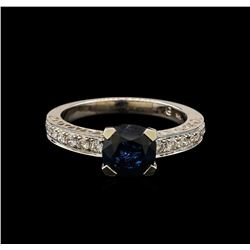 14KT White Gold 2.12ct Blue Sapphire and Diamond Ring