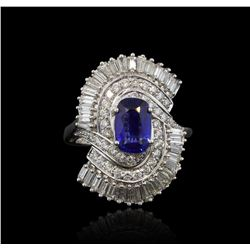 14KT White Gold 3.03ct GIA Cert Sapphire and Diamond Ring