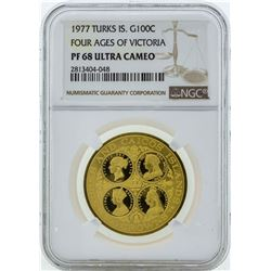 1977 Turks & Caicos Islands 100 Crowns Gold Proof Coin NGC PF68 Ultra Cameo