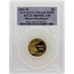 1991-W $5 US Vault Collection Mount Rushmore Proof Gold Coin PCGS PR69DCAM