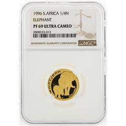 1996 South Africa 1/4 Natura Elephant 1/4 oz Gold Coin NGC PF69 Ultra Cameo