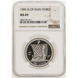 1985 Noble Isle of Man Silver Coin NGC MS69
