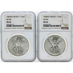 Set of 1983MO-1984MO Mexico 1 Onza Silver Libertad Coins NGC MS66