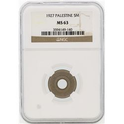 1927 Palestine 5 Mils Coin NGC MS63