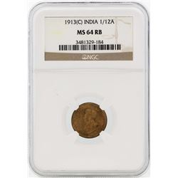 1913 India 1/12 Annas Coin NGC MS64RB